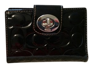 Coach Coach jacquard black leather wallet
