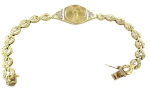 14KT YELLOW BRACELET 5 DOLLARS LIBERTY GOLD COIN 1/10 OZ 12 DIAMONDS .12 CARAT