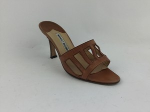 Manolo Blahnik Leather Wooden Heel Brown Sandals