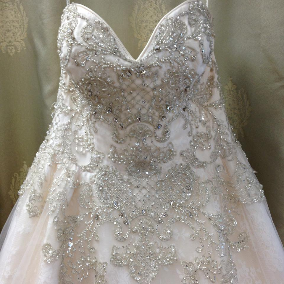 Ivory Over Light Gold Lace and Tulle Traditional Wedding Dress Size ...