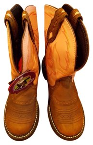 Justin Boots Size 8.5 Riding Two Tone Leather Brown and Pink Boots