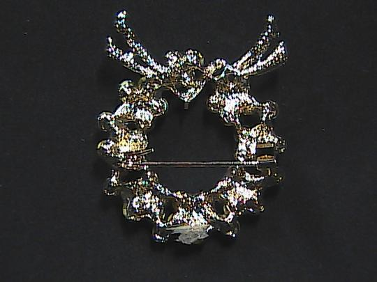 Unknown Rhinestone Crystal Wreath Brooch Image 1
