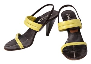 Prada Slingback Open Toe Lime Green Brown Brown/Green Sandals