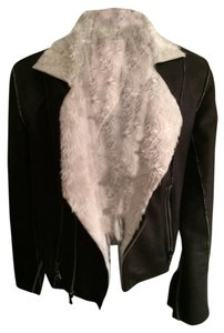 JOE'S Jeans Suede Biker Faux Shearling Black and White Jacket