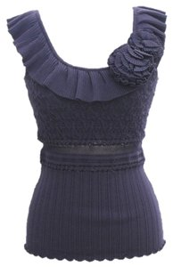 Catherine Malandrino Navy Sweater Knit Ruffled Top blue