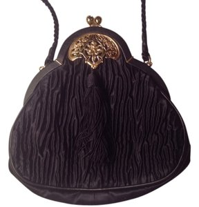 Bonwit Teller Evening Satin Leather Accent Tassel Detail Vintage Shoulder Bag
