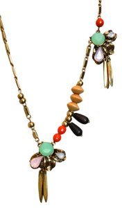 Anthropologie anthropology long gold capri necklace opal onyx crystal beads gold chain new