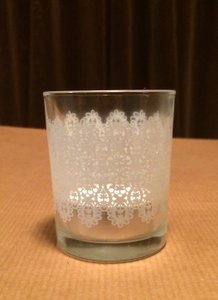 Kate Aspen Clear Glass with Lace Accent 48 Tea Light Never Used Votive/Candle