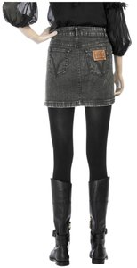 Dolce&Gabbana Dolce & Gabbana Distressed Denim D&g Logo Mini Skirt Grey