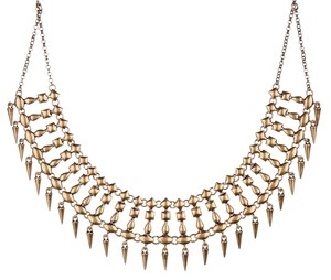 Lucky Brand Lucky Brand Spike Drops Gold Tone Linked Statement Collar Necklace