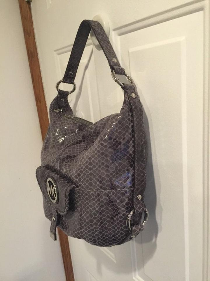 ... Michael Kors Fulton Large Shoulder Handbag Gray Snakeskin Leather Hobo  Bag - Tradesy ... fccf375705f8d