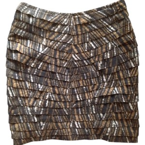 Silence + Noise Urban Outfitters Must-have Night Out Tiered Mini Skirt Taupe