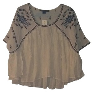 French Connection Boho Summer Off White Embroidered Top