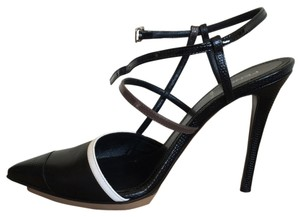 Fendi Italian Leather Strappy Black and White Pumps