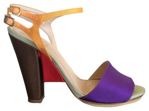 Fendi Color-blocking Chunky Silk Multi-color Sandals