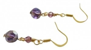 purple swarovski crystal handmade earrings