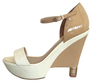 Chanel Patent Leather Beige Wedges