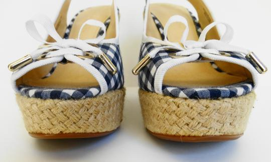 Charles & Keith 80390135 & Gingham Check Toe Clevage Navy And Navy & Sandal Blue & White Wedges