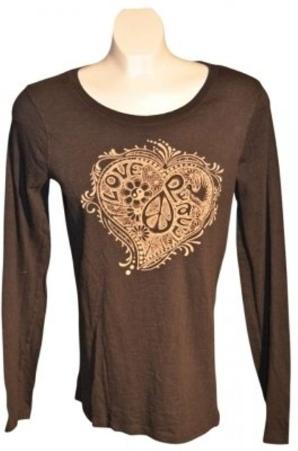 """Item - Black/Beige Long Sleeved Cotton Design In Cream Color In Front 18"""" Underarm To Underarm (Laying Flat) Tee Shirt Size 10 (M)"""