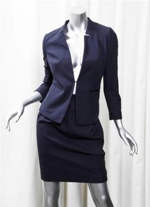 GERARD DAREL Gerard Darel Womens Navy Cotton Blazerknee Length Skirt Suit Outfit