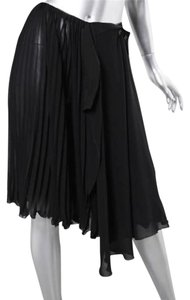Chanel Pleated Chiffon Layered Wrap-front Knee-length Skirt Black