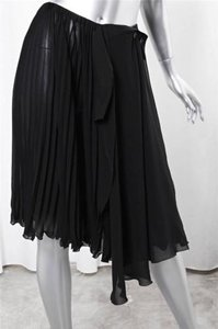 Chanel Pleated Chiffon Layered Wrap-front Knee-length A-line Skirt Black