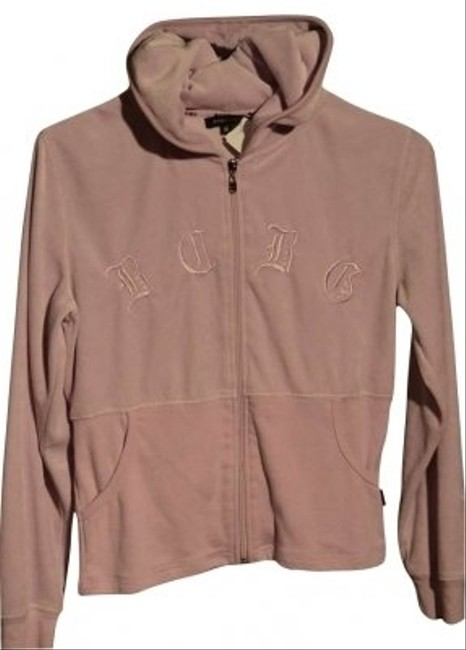 "BCBG Max Azria Zippered In Color Half Is Velour Very Soft Size M 19"" Underarm To Underarm (laying Flat) $11.75 Sweatshirt"