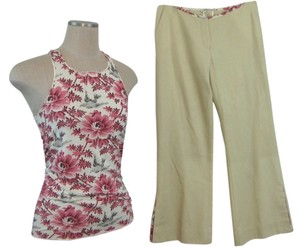Amen AMEN 2 pc Top Pant Outfit Size 40 Small Italian Floral Print Embroidered New