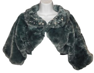 Lulu Guinness Open Front Faux Pearl Accents Lined Cropped Fur Coat