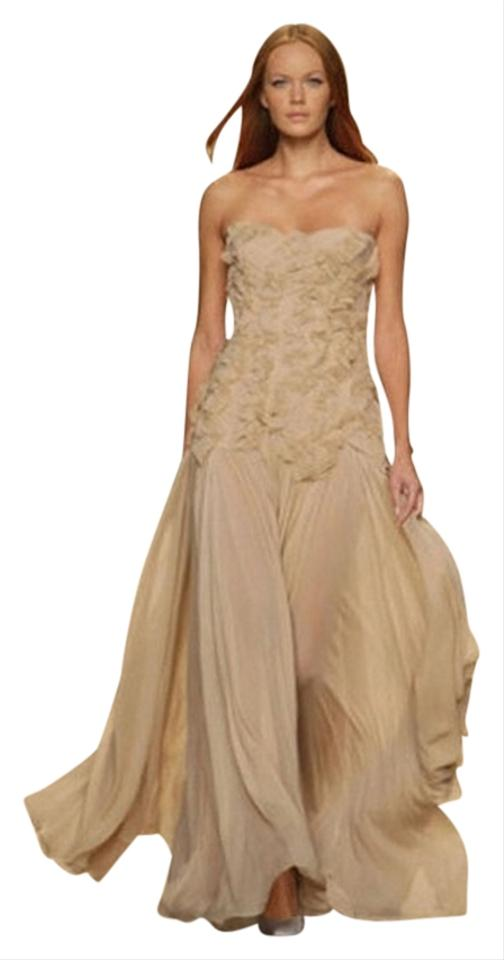 Jenny Packham Beigenude Silk Chiffon Elegant Wedding Black Tie Long