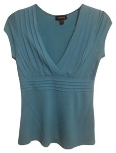 bebe V-neck Rayon Top Turquoise