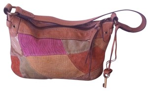 Fossil Suede Leather Patchwork Hobo Bag