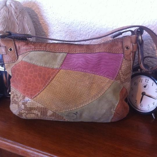 Fossil Suede Leather Patchwork Textured Hobo Bag