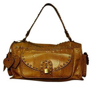 Luella Snake Snakeskin Studded Shoulder Bag