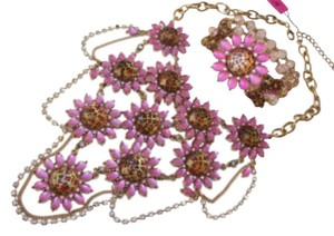 Betsey Johnson Betsey Johnson Floral Leopard Necklace & Bracelet Dripping Rhinestones SET
