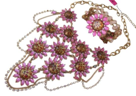 Preload https://img-static.tradesy.com/item/1227141/betsey-johnson-pink-floral-leopard-bracelet-dripping-rhinestones-set-necklace-0-0-540-540.jpg