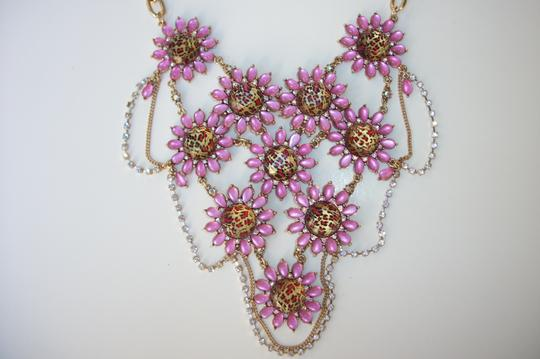 Betsey Johnson Betsey Johnson Floral Leopard Necklace & Bracelet Dripping Rhinestones SET Image 1