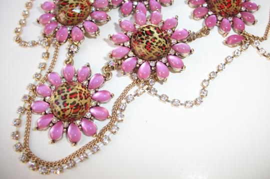 Betsey Johnson Betsey Johnson Floral Leopard Necklace & Bracelet Dripping Rhinestones SET Image 2