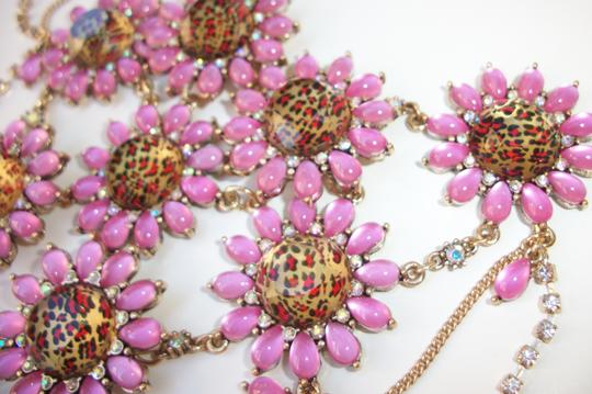Betsey Johnson Betsey Johnson Floral Leopard Necklace & Bracelet Dripping Rhinestones SET Image 3