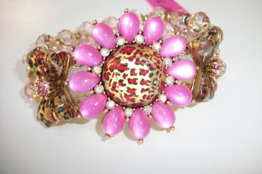 Betsey Johnson Betsey Johnson Floral Leopard Necklace & Bracelet Dripping Rhinestones SET Image 5