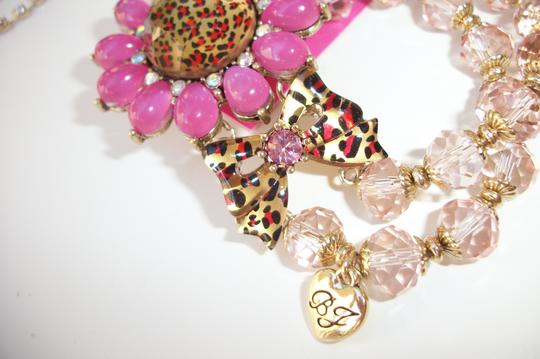 Betsey Johnson Betsey Johnson Floral Leopard Necklace & Bracelet Dripping Rhinestones SET Image 7