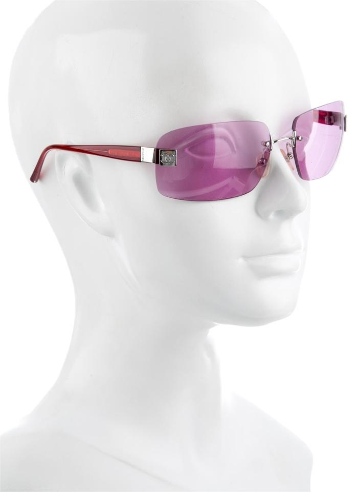 Chanel 4026 CC Logo Silver Rose Tinted Pink RED Aviators Rimless Frameless  ... b1b1a4619