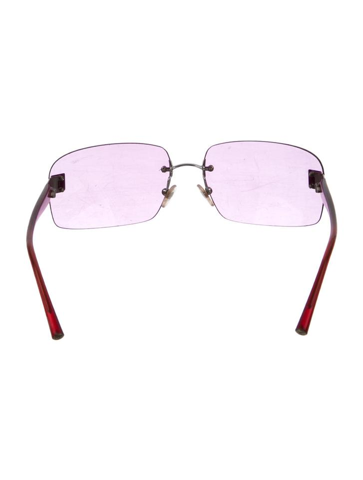 222025ee2734f Chanel Pink Red Gray Silver 4026 Cc Logo Rose Tinted Aviators Rimless  Frameless Sunglasses - Tradesy