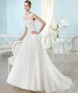 Pronovias Off White Lace Halland Destination Wedding Dress Size 14 (L)