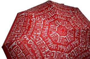 Coach COACH DAISY GRAFFITI RED WHITE COMPACT UMBRELLA