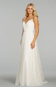 Ti Adora by Alvina Valenta Ivory English Netting Lace and Chiffon 7404 Feminine Wedding Dress Size 10 (M)