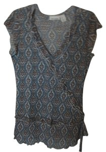 DKNY Brown/Teal Paisley Top Brown