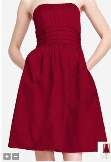 David's Bridal Apple Red Cotton Sateen Strapless with Ruching and Pockets Style 83312 Casual Bridesmaid/Mob Dress Size 6 (S)