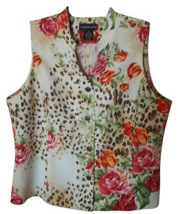 Sandra King Animal Print Top Ivory Print