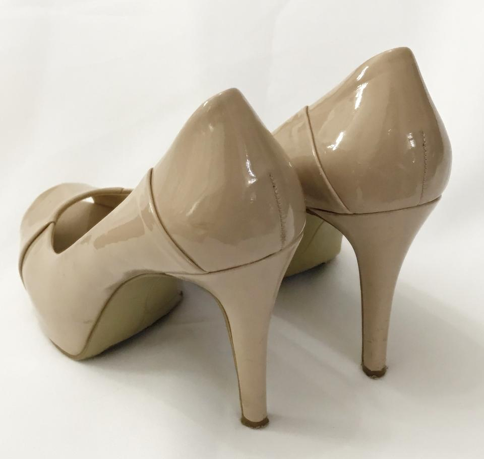 04022ecd6283 Nine west nude tan patent cadee peep toe hidden pumps heels jpg 960x912 Nine  west navy